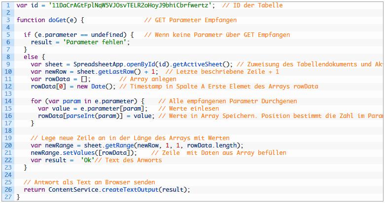 Google Web-App Script, ESP32 Arduino Speichert die Messwerte in Sheets